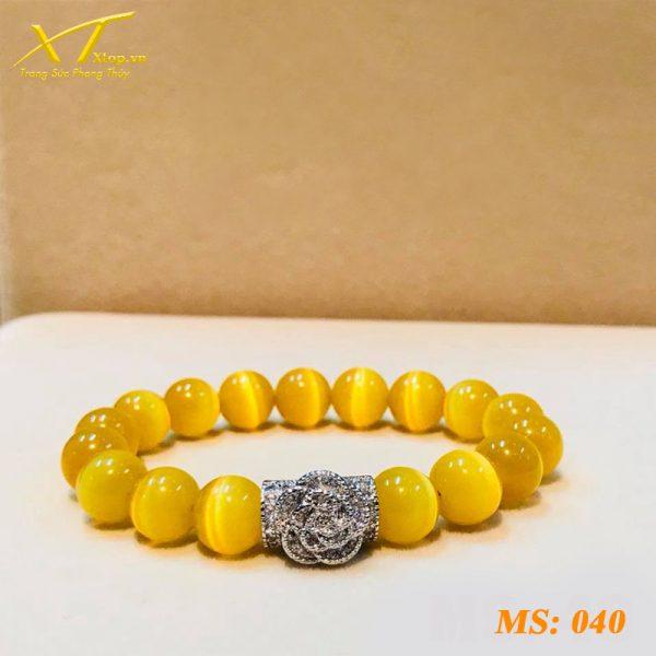 vòng đá mắt mèo vàng ms40