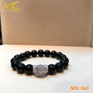 vòng đá thạch anh đen ms43