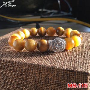 Vòng đá mắt hổ vàng mix hoa MS115