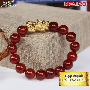 Vòng đá màu đỏ mix tỳ hưu MS120