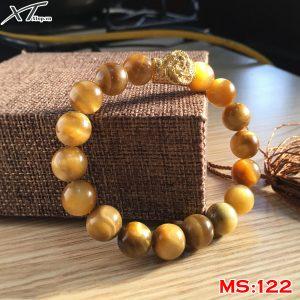vòng đá mệnh kim cho nam giới, vòng đá mắt hổ vàng ms122
