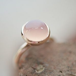 Nhẫn bạc thạch anh hồng